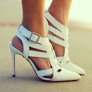 "Shoemint ""Garbo"" caged White heels"